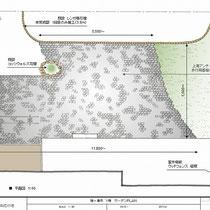 提案図、広大なお庭をどのような舗装で仕上げるかが最初の悩みどころでした。今回は黒いアンティークレンガを使用。