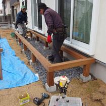 事前にプレカット準備して現場で組み立てるので、施工時間は非常に短く頑丈に作れます。