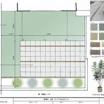 提案資料、ご予算の中でなるべく平坦なテラスとなる部分を作りながら、目隠しとなる植物を植えこんだお庭です。
