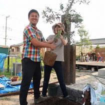 ご夫婦で記念に植えられたオリーブ、家のシンボルツリーとして立派に育ってほしいですね。