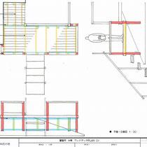 提案図、はさみ束工法による屋根上のウッドデッキです。