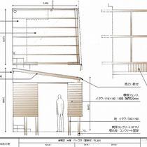 提案図、外部は建物固定のポリカーボネート付パーゴラ。内部は細部までこだわった収納の割付図を作りました。