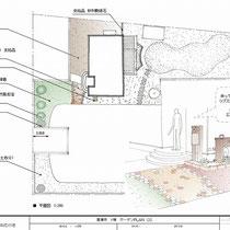 提案図面、玄関周りと建物外周の雑草対策として材料を振分け整備しました。