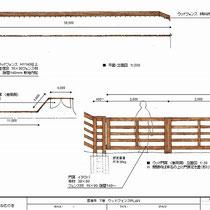 全体図と門扉の詳細。ぐるっと広大な敷地をウッドフェンスで囲みます。