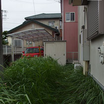 着工前の脇通路。雑草で見えませんが、既に安価な雑草防止シートと砂利が敷かれた部分です。安価なシートを突き破った雑草で覆われています。