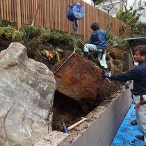 埋もれていた石もクレーンで発掘、景石として石組みしていきます。