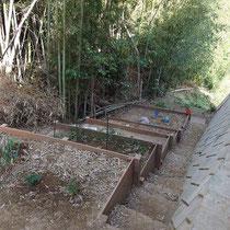 建物脇は傾斜部分でしたが、ハードウッド材で作った土留が家庭菜園となりご活用いただけました。
