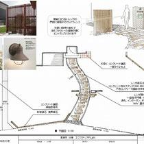 とても広い敷地、アプローチと外周ブロック+フェンスに予算を割り振り、メインの駐車場や植栽などは次期工事としてご提案しました。