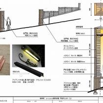 提案資料、銅板の笠木と表札灯、門柱の中にも埋込照明を設置します。