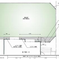 提案資料、雑草管理がしにくい建物際をコンクリートで仕上げました。