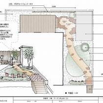 提案図、自転車で乗り入れる舗装はすべてレンガになり、奥行きを楽しむお庭です。
