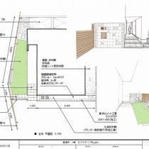 提案図、芝生を貼るお庭の目隠しを兼ねるウッドフェンスと、建物外観を美しくする演出するための階段部分の造作を中心に提案します。