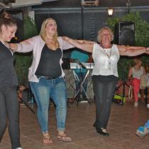 Corfu 2015, Roswithas Geburtstagsparty mit Alexandra, Marianna, Roswitha und Wassiliki