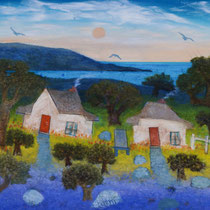 Bay View Cottages | John Cartwright | Oil on Board | 930x770mm - framed