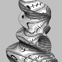 Romana Schuler, Zöller Twist, 2013, 3D-Print (Entwurf), Gips, 2 Farbendruck