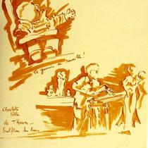 * 475-  lavis merisier- Lors d'un exposition de peinture à Thann, animation d'artistes et d'artisans,21 x 30.,