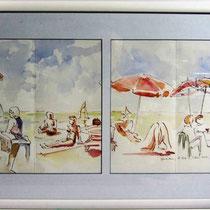 * *668-1  Sur la plage du Lido,47 x 76, encadré  , Arches lisse 250gr