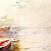199- Le lac, aquarelle, 85 X 33 , peint en direct