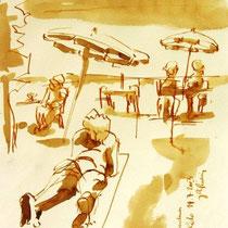 * 701- Dessin lavis réalisé autour du lac de Gérardmer en situation, à la teinture merisier ,sur papier Lana 140 gr