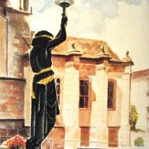 314- Bienvenue sur le perron de la Mairie à Remiremont, aquarelle 50x70
