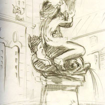 µ 1123- Etude pour un tableau, dans le jardin des olives ,mairie de Remiremont, un Amour de fontaine !