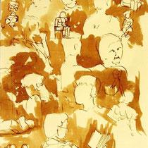 * 702- Dessin lavis réalisé autour du lac de Gérardmer en situation, à la teinture merisier ,sur papier Lana 140 gr
