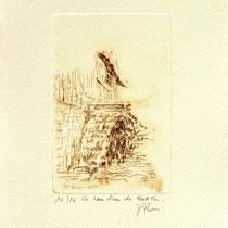 *1103-  Gravure,estampe :   Le haut-fer de Bois-de Champ et sa roue d'eau