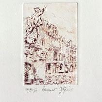 333- Le Volontaire de Remiremont, estampe sur vélin d'Arches 20x30