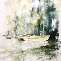197- Le lac, aquarelle, 50 X 70 , peint en direct