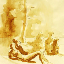 * 280- Lavis teinte merisier, la vie autour du lac de Gérardmer, 21x30