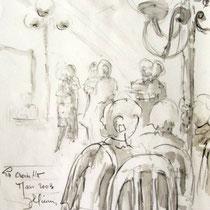 *1120-  Dessin de danseurs à La Croisette d'hérival, au lavis;