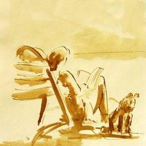 * 711- Dessin lavis réalisé autour du lac de Gérardmer en situation, à la teinture merisier ,sur papier Lana 140 gr