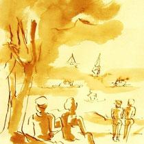 * 698- Dessin lavis réalisé autour du lac de Gérardmer en situation, à la teinture merisier ,sur papier Lana 140 gr