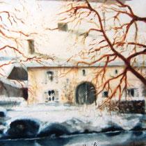 * 324- Une ferme sous la neige à Pont-Dommartin-lès-Remiremont 30x40