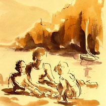 * 705- Dessin lavis réalisé autour du lac de Gérardmer en situation, à la teinture merisier ,sur papier Lana 140 gr