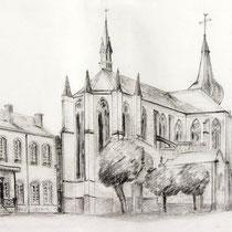 *294- La Mairie accolée à l'Abbatiale de Remiremont, dessin au crayon 20 x 30