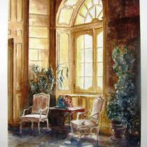 138- Le Château de St-Rémy Haute-Saône, le Grand Salon, aquarelle81 X 62. Association Hospitalière de Franche-Comté.