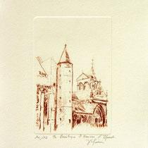 * 1079-  Gravure,estampe :   La Basilique St-Maurice d'Epinal