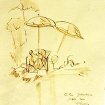 * 687- Dessin lavis réalisé en situation, à la teinture merisier ,sur papier Lana 140 gr