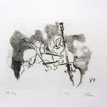 Gravure,estampe musique : *1004- Trio, Contrebasse, violons