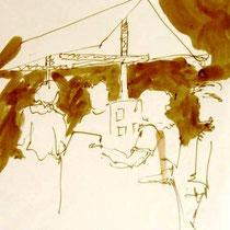 * 469- Le Haut- du-Tôt, dessin , lavis étude pour un tableau 20 x 30.