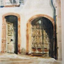 311- La porte Ronde, place de la Courtine à Remiremont, aquarelle 50x70