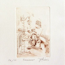 * 292-  Le Volontaire à Remiremont, estampe sur vélin d'Arches 20 x 30