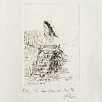 * 372 Estampe de la roue d'eau du Haut -Fer, vélin d'Arches, 20x30