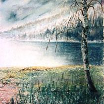 195- Le lac au printemps, pastel 50 X 70