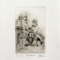 *330- Le Volontaire de Remiremont, estampe sur vélin d'Arches 20x30