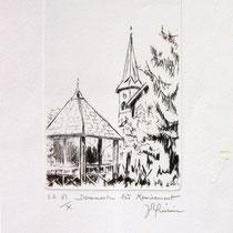 * 321- Estampe sur Dommartin-lès-Remiremont ,20x30, vélin d'Arches
