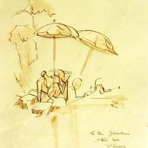 * 252- Lavis teinte merisier, la vie autour du lac de Gérardmer, 21x30