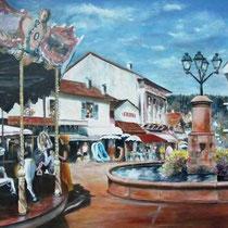218- Le manège, la fontaine, la rue de la Gare (nom de l'époque ) tableau acrylique, 90 X 60