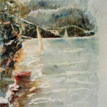 726- Le lac de Gérardmer, aquarelle 50 x 70